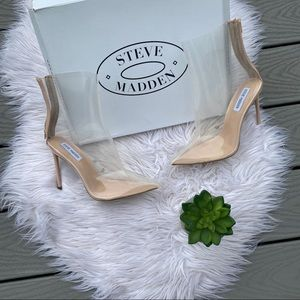 Steve Madden clear ankle boots